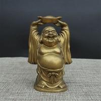 Open light Pure copper lever Buddha statue lift Yuanbao lever money smile Buddha big Belly Buddha recruit Wealth townhouse feng