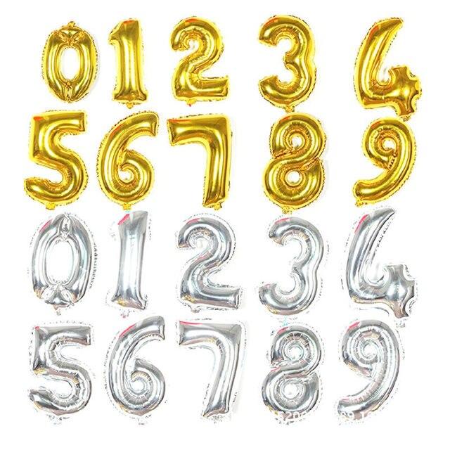 1 stück 16 zoll Gold Silber Anzahl Folien Ballons Kinder Party Dekoration Glücklich Geburtstag Hochzeit Ballon Globos Anzahl kinder geschenke