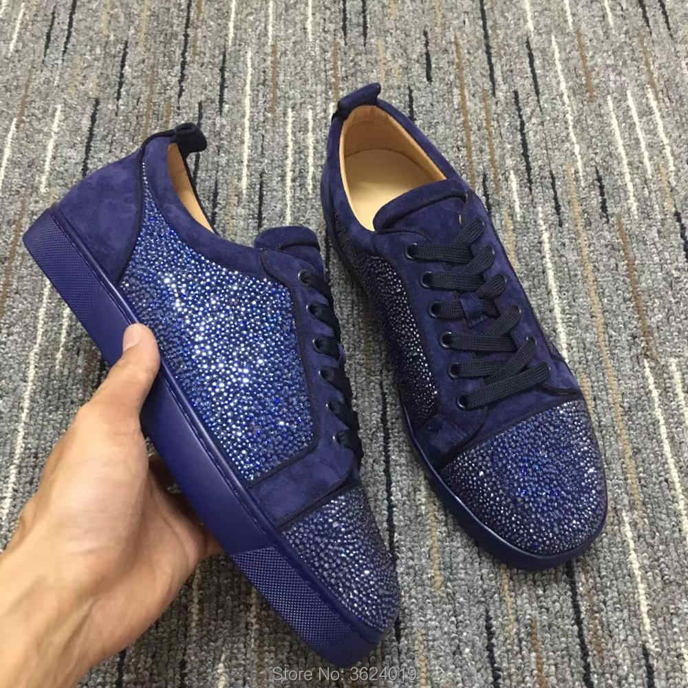 Low Cut cl andgz For Men shoe Purple Blingbling diamond Lace Up Fashion Red  bottoms Shoes 4f49cf454251