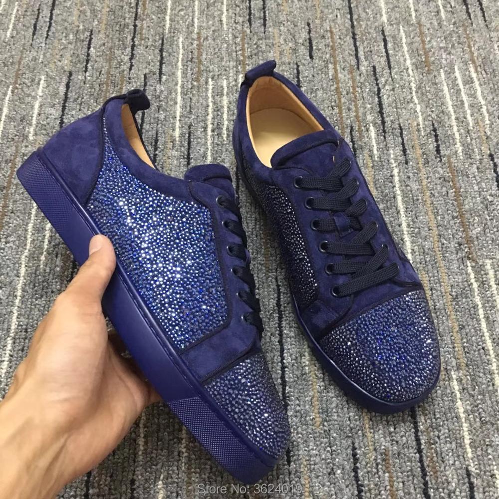 da745d5353a Fondo Deporte Bajo Púrpura Moda Cuero Rojo Blingbling Zapatillas Diamante Hombres  Zapatos Corte Para De Encaje ...