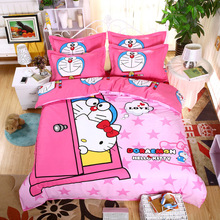 3D Doraemon Hello Kitty Cartoon Bedding Set Include Duvet Cover Bed Sheet Pillowcases Kids Soft Bed Linen Twin Full Queen Size