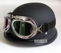 WWII Style BLACK German Capacete Motorcycle Helmet CLASSICAL Cycle Half Helmet Chopper Biker Motor Riding Pilot