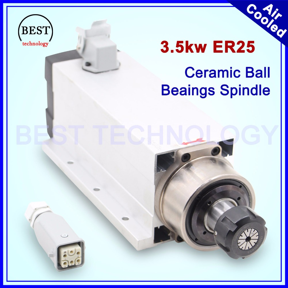 New Arrival! 3.5kw ER25 air cooled spindle ceramic ball bearings high accuracy 0.01mm 4 pcs bearings square air cooling spindle new arrival 1 5kw er11 air cooled spindle 80mm diameter 4 pcs bearings 24000rpm air cooling cnc milling spindle accuracy 0 01mm