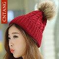Recentes 2016 Inverno Do Falso Chapéus de Pele De Coelho Moda Feminina Torcida Chapéu feito malha Pompom Crochet Gorros Cap Quente Tampas Casuais Para feminino