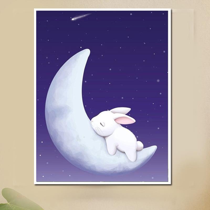 Moda Księżyc królik Daimond Malowanie sztuczny rhinestone zestaw - Sztuka, rękodzieło i szycie - Zdjęcie 1