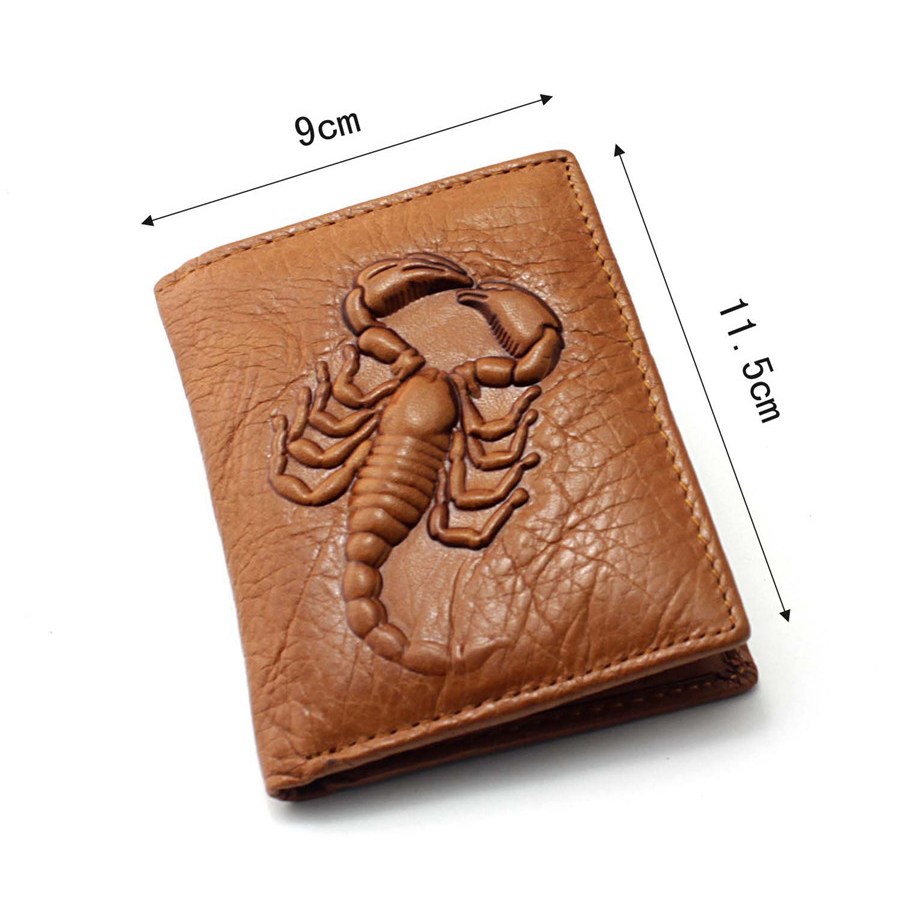 Genuine leather for man 3D Scorpion pattern Retro personality male short <font><b>wallet</b></font> card holder famous brand money bag
