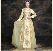New 2019 Chinese traditional elegant clothing Summer bride wedding dress high quality cheongsam gown Fashion show yellow kimono spring and summer clothing xiu he chinese red wedding dress bride cheongsam phoenix gown chinese fashion show kimono outfit
