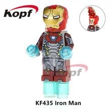 Super Heroes Single Sale Железный человек Ironman Vision Капитан Америка Thanos Паук-кукла Строительные блоки Детские игрушки для детей KF435