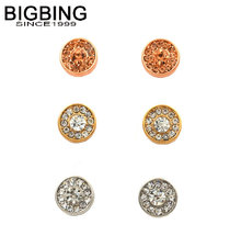 BIGBING jewelry fashion 3 colors crystal round stud earring set high quality nickel free free shipping R053(China)