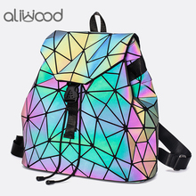 aliwood Women Geometric Backpacks Luminous Laser Small Backpacks for Teenage Girls School Bags Leather Rucksack Mochila Feminina