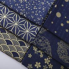 LEO&LIN Bronzed Dark Blue Wave Cherry Blossoms Flowers Printing Japanese Kimonos Retro Patchwork Cotton Fabric Sewing tissu 50cm