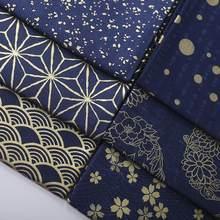 Leo & lin bronzeado escuro azul onda flores de cerejeira impressão japonês kimonos retro retalhos tecido algodão costura tisu 50cm