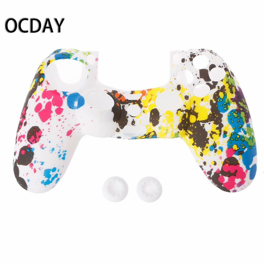 3-In-1 Anti-Slip Multicolor Silicone Cover Skin Case + 2 Thumbsticks Grips For Sony 4 PS4 Pro Slim Controller3-In-1 Anti-Slip Multicolor Silicone Cover Skin Case + 2 Thumbsticks Grips For Sony 4 PS4 Pro Slim Controller