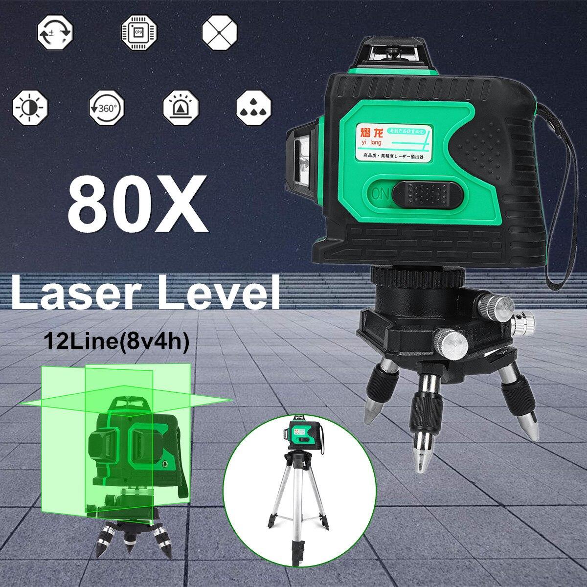 3D 12 Ligne 360 Degrés Laser Étanche Auto Auto Nivellement avec Trépied Vertical Horizontal Niveau Croix VERT Plumb-point fonction