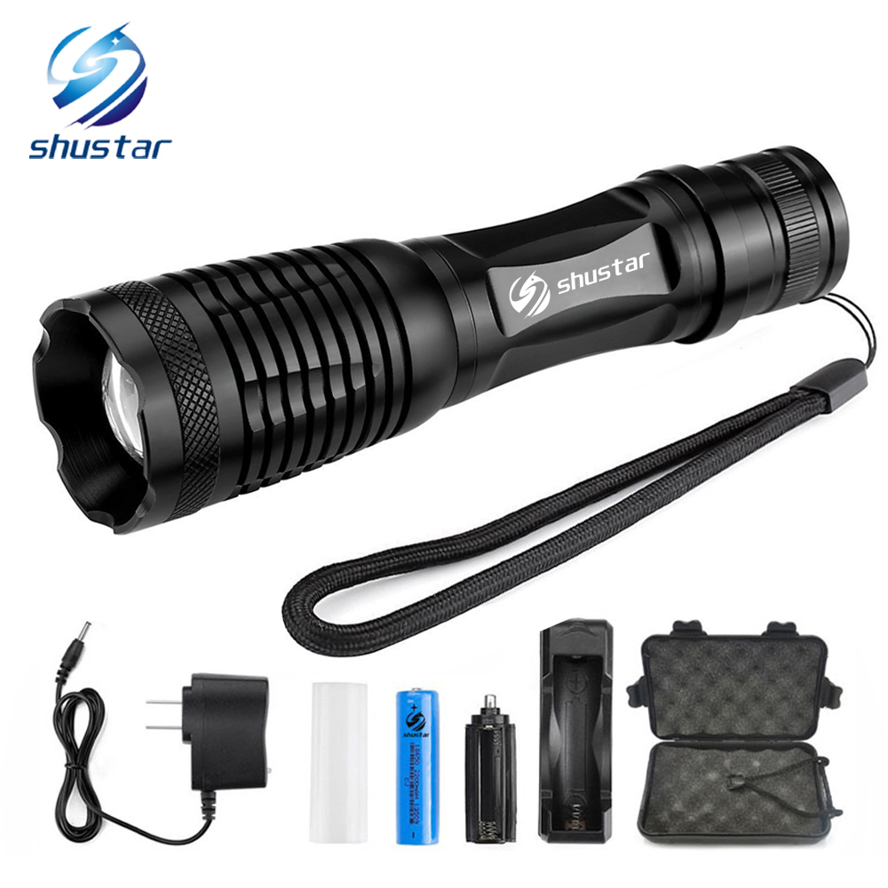 Glare LED Flashlight Bicycle Light 5 Lighting modes Zoomable Torch Use 18650 battery Used for hunting camping night rides, etc.
