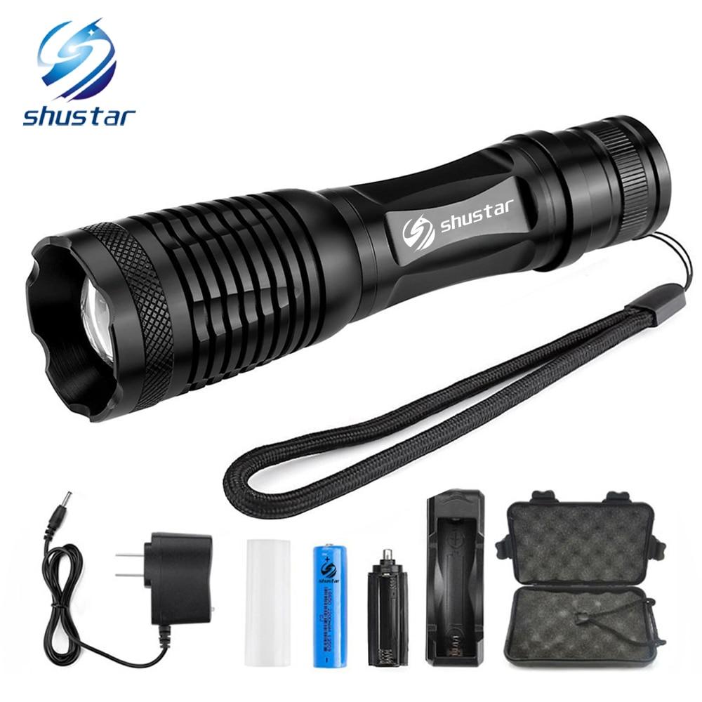 LED Taktische Taschenlampe T6/L2 8000 Lumen Porable Taschenlampe 5 Modus Einstellbar Fokus Wasserdicht verwenden 18650 batterie