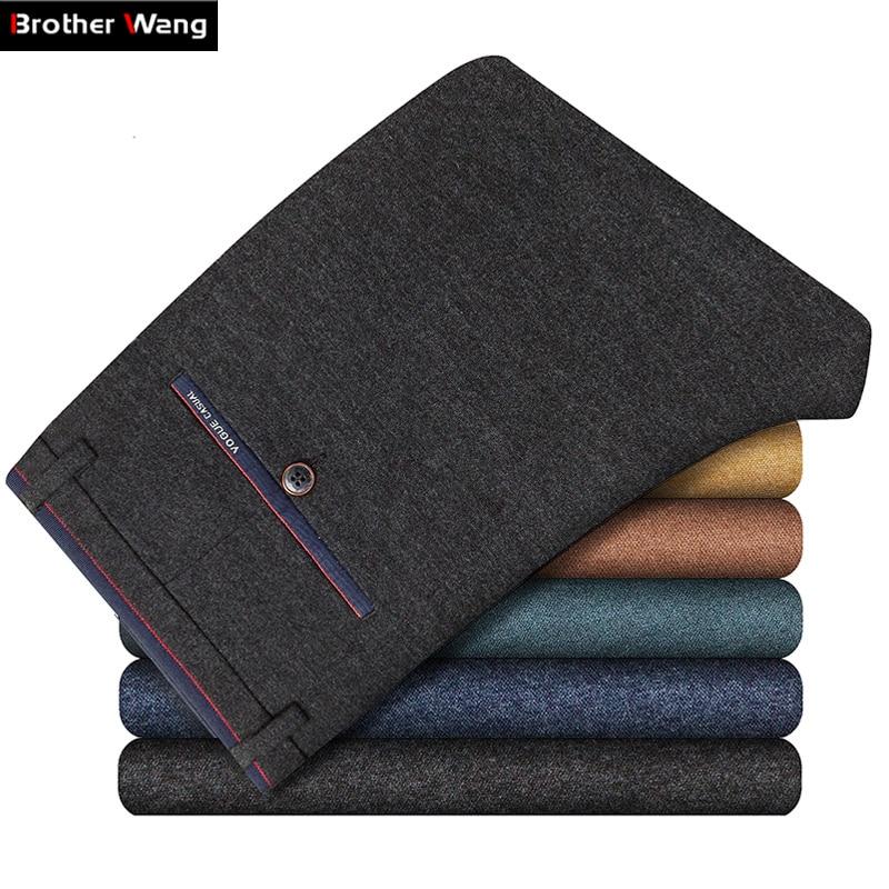 Autumn Winter Men Casual Pants Cotton Business Fashion Slim Sanding Elasticity Trousers Male Brand Clothes Khaki Brown Navy