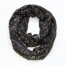 2019 New Europe Fashion Black Navy Red Women Ring Scarf Shiny Bronzing Gold Dot Infinity Hijab Scarfs Snood For Ladies
