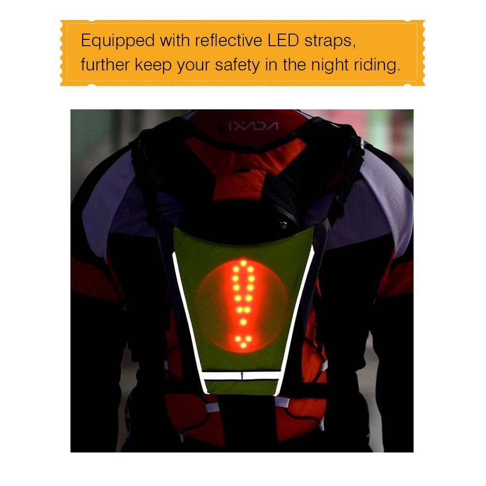 New 2019 LED Wireless cycling vest 20L MTB bike bag Safety LED Turn Signal Light Vest Bicycle Reflective Warning Vests with remo in Cycling Vest from Sports Entertainment