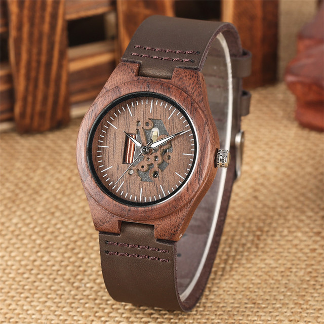 Coffee Brown Lovers Wood Watch Creative Arts Hollow Couple Timepiece Casual Men's Genuine Leather Watches Lady Wristwatches Gift 3