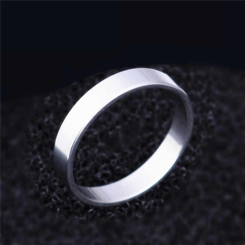 4mm Punk Rock tarzı gümüş renk yüzük Mens Womens moda tıknaz parmak Bling titanyum çelik yüzükler