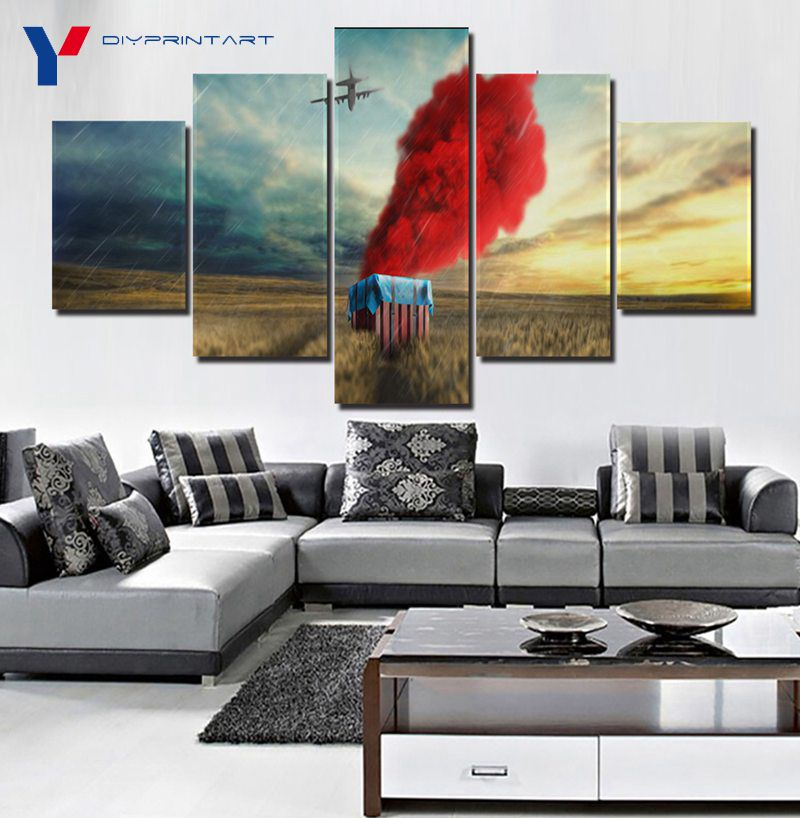 pubg airdrop game poster 5 panels canvas painting 5 piece. Black Bedroom Furniture Sets. Home Design Ideas