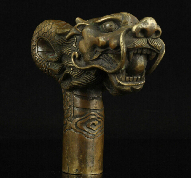 ZSR914 + + + chine vieux travail manuel sculpture Bronze Dragon Statue canne tête bâton de marche
