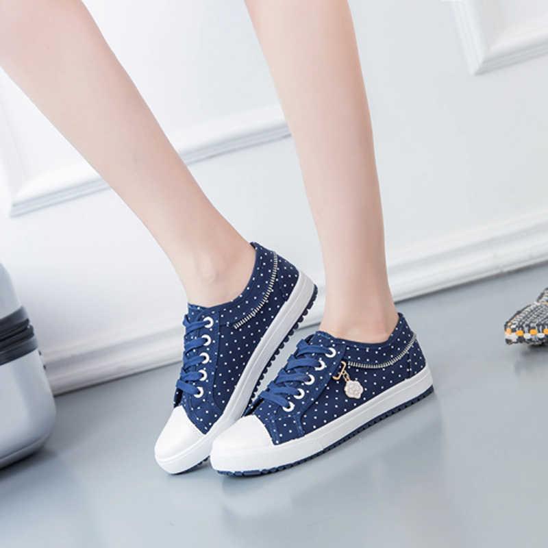 2018 bahar kadın flats nefes örgü kadın ayakkabı moda denim dantel up kadın sneakers zapatos de mujer