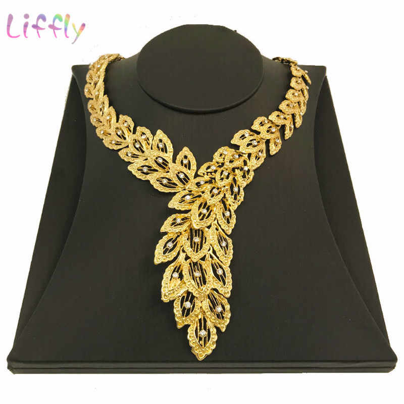 Liffly Dubai Bridal Jewelry Sets for Women Peacock Gold Necklace Earrings Fashion Charm African Wedding Nigeria Sets Jewelry