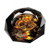 Chinese Style Portable Glass Eco Friendly Round Dragon Horse Peacock Flower Ashtray Ash Tray Holder Cigarette Smoke Car Ashtray