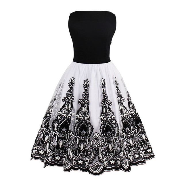 Sisjuly women vintage 1950s style dress floral print white party dress black elegant female vintage sexy dress 2017 new dresses