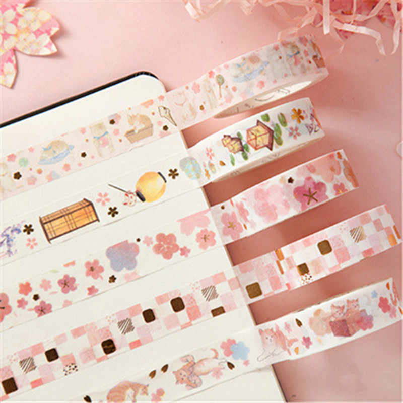 1Pc Golden Roze Folie Papier Cherry Washi Tape Set Japanse Scrapbooking Decoratieve Tapes Kat Klauw Voor Fotoalbum Thuis decoratie