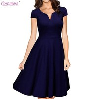 Women S Vintage 1950s V Neck Cap Sleeve Midi Swing Cocktail Dress