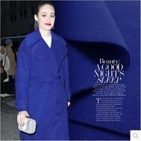 Single Bright Sapphire Blue Fleece Wool Woolen Cloth Coat Autumn And Winter Fashion Fabrics 650grams Per