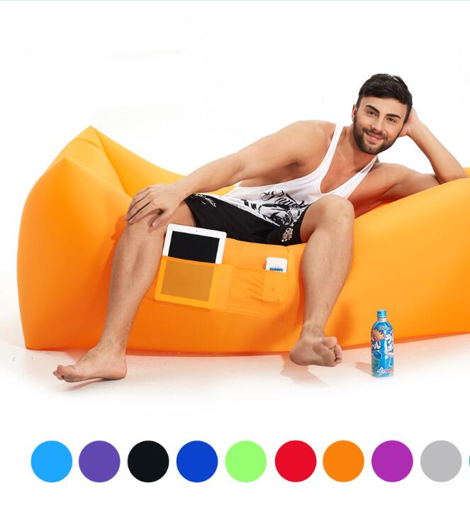 Portable ONE HOLE Outdoor Fast Inflatable Sleeping bags Beach Sofa Hangout Camping Bed Comfortable Lounger 0.8kg 6 Colors