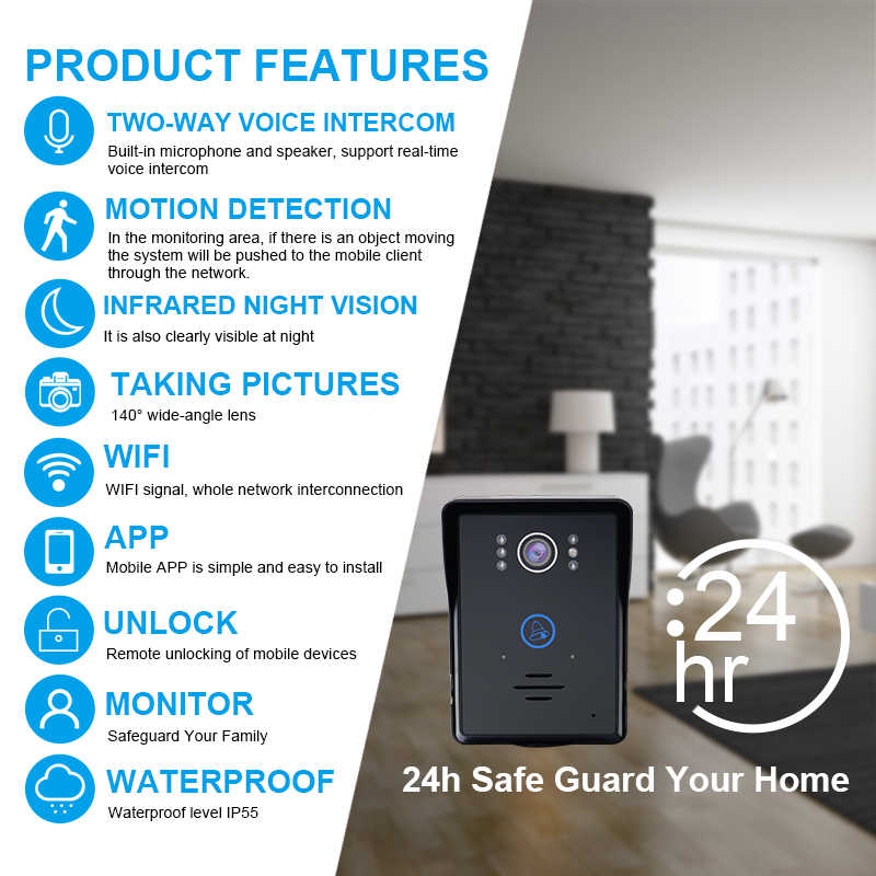 Saful Wifi Video Intercom System Night Vision Motion Detect Video Door  phone Support Android & ios APP for home bell