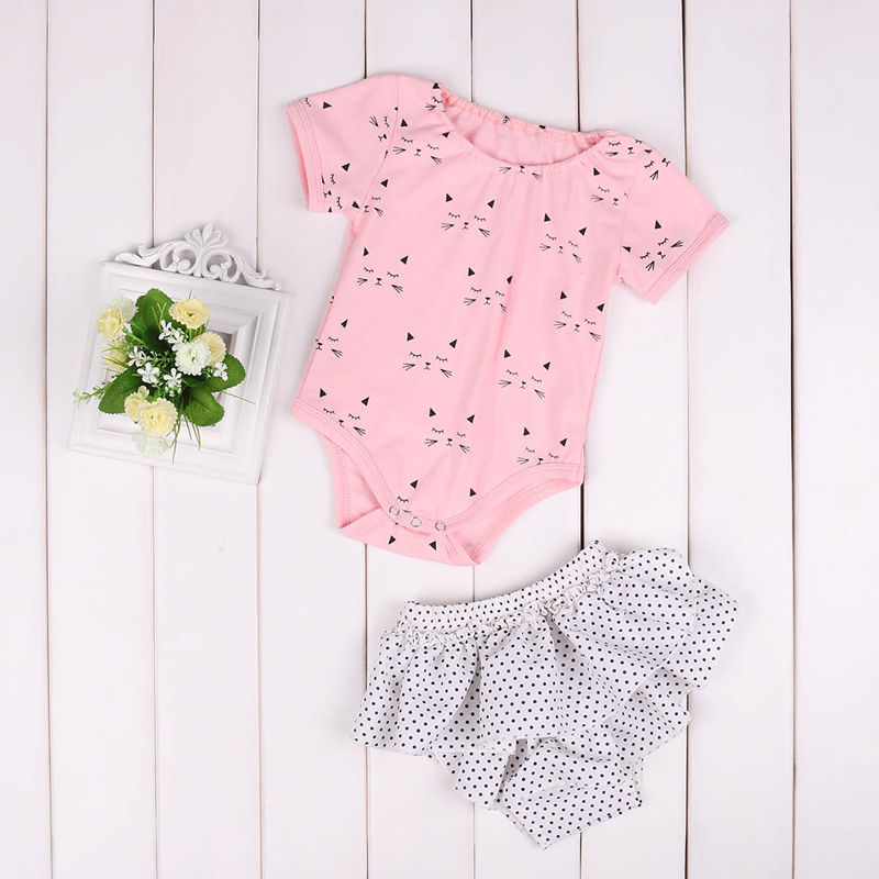 Newborn Girls Clothes Set Infant Baby Girl Outfit Jumpsuit Cat Short Sleeve Bodysuit Dot Pants Children Clothing Costume 2PCS infant baby boy girl 2pcs clothes set kids short sleeve you serious clark letters romper tops car print pants 2pcs outfit set