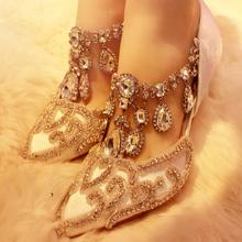 Luxury Bling Bling Crystal Wedding Shoes Bride Pointed Toe Cut-out Low Heels Pumps Shoes Women Rhinestone Women Shoes High Heel 2019 fashion design women high heels ivory pearl wedding party shoes 3 inches heel bride shoes pointed toe ceremony event pumps