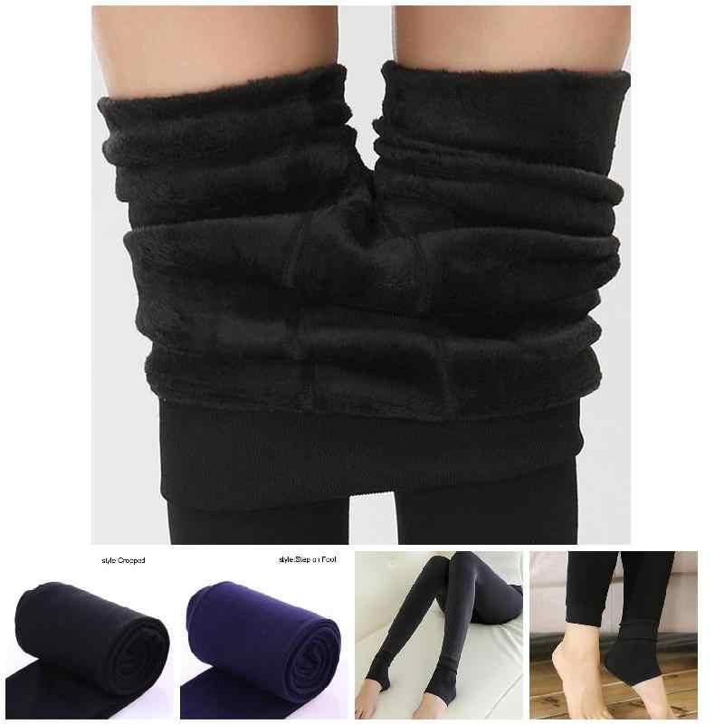 Leggings ฤดูหนาวผู้หญิงอบอุ่น Leggings สูงเอวหนากำมะหยี่ Legging ของแข็งทั้งหมดตรงกับ Leggings ผู้หญิง