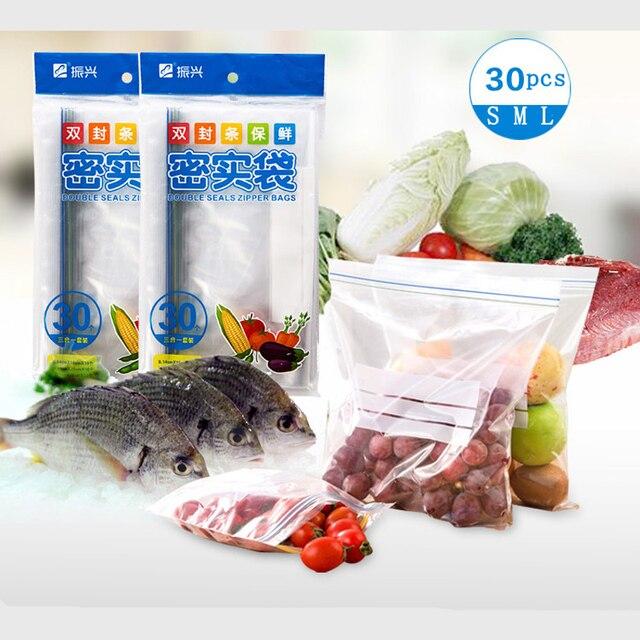 30 pcs/vanzlife Cozinha silicone reutilizável saco de frutas de plástico do congelador de alimentos sacos de vácuo de armazenamento de roupas sacos de mylar ziplock saco