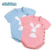 Baby Bodysuit for Girls Easter Rabbit Knitted Infantil Bebes Onesie Clothes Summer Short Sleeve Toddler Boys Body Tops Kids Wear