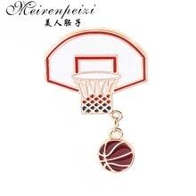 Meirenpeizi булавки и броши Баскетбол Любовь фанаты баскетбол стенд эмалированные булавки значки нагрудные знаки женские летние пляжные ювелирные изделия
