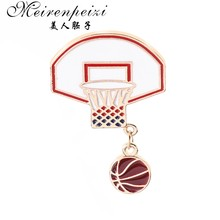 Meirenpeizi alfileres y broches Basketball love fans Basketball stand esmalte Pins solapa pines mujeres verano playa joyería(China)