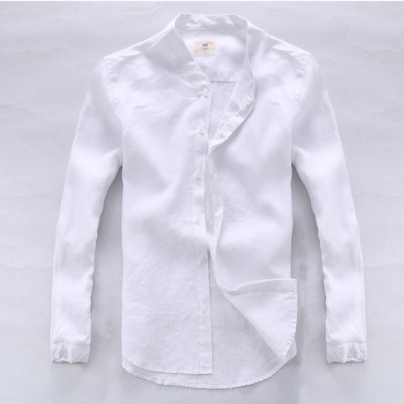 Summer White Stand-Round Collar Camicia di lino Uomo Abbigliamento di - Abbigliamento da uomo