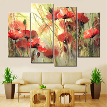 No Frame Drop Shipping 4 Panels Modular Paintings Cuadros Decoracion Flowers Canvas Art Pictures for Living Room Home Decor