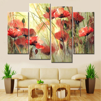 No Frame Drop Shipping 4 Panels Modular Paintings Cuadros Decoracion Flowers Canvas Art Pictures For Living