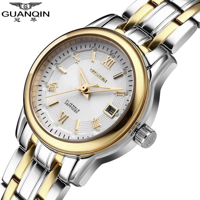 ФОТО 2017 Watches Women Fashion Luxury Watch Brand GUANQIN Ladies Quartz Wristwatches 30m Waterproof Steel Dress Watches Women Watch