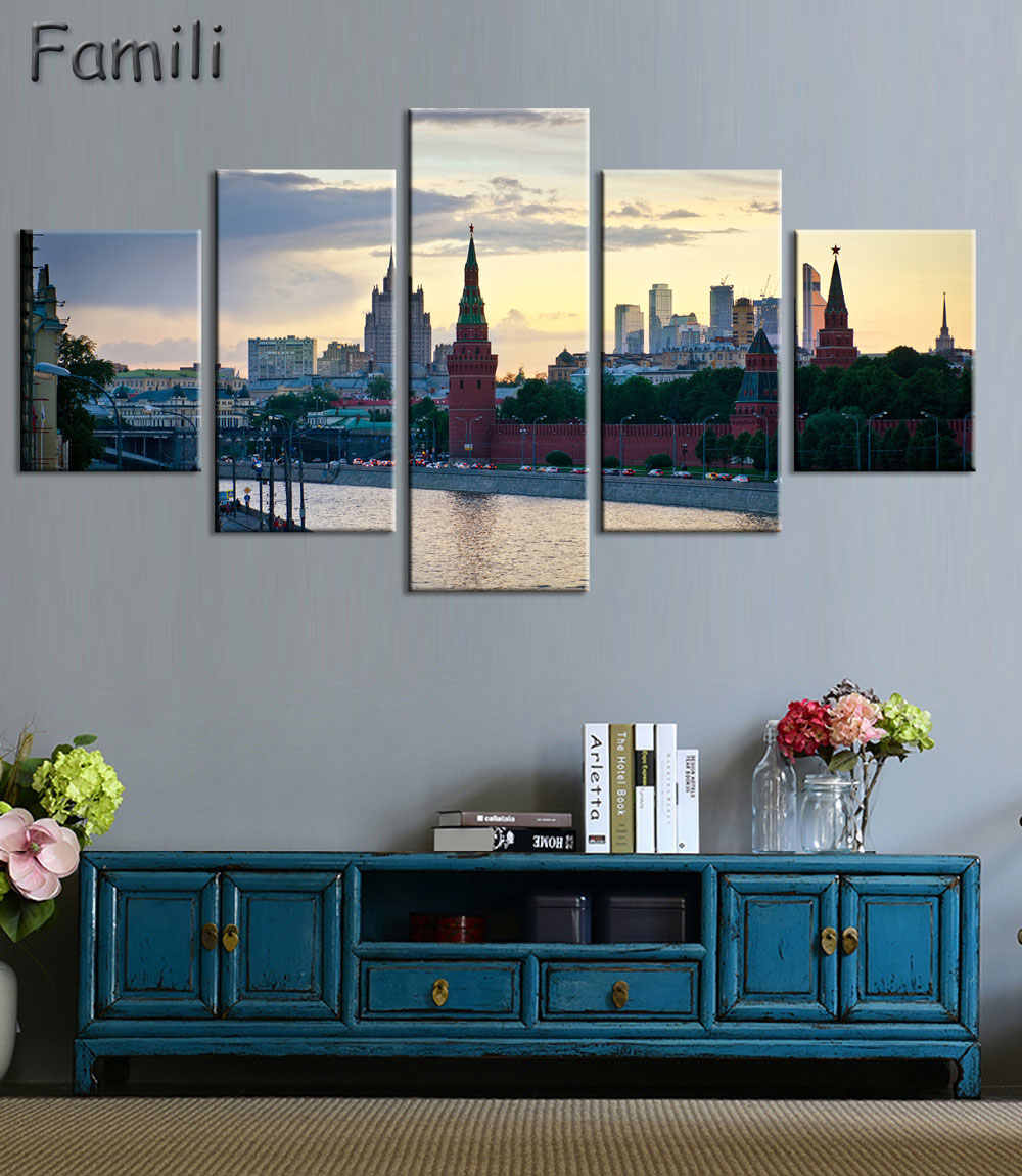 Wall Art Modular Pictures Moscow Russia Kremlin City Modern Oil Painting On The Wall Pictures For Living Room Hot Cuadros 5Piece