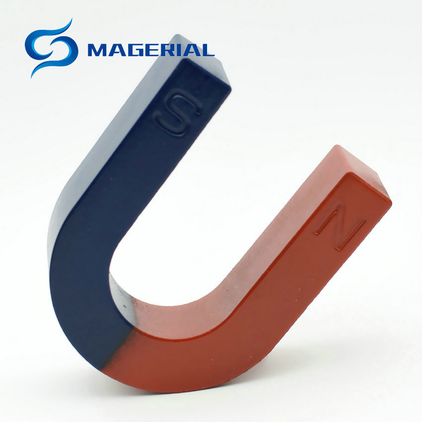 1pcs Toy Experiment Magnet U Type 105x85x30 mm Horseshoe Student Blue Red Toy Magnetics Teaching Tool U Shape 2pcs magnet for education science experiment horseshoe magnets u teaching