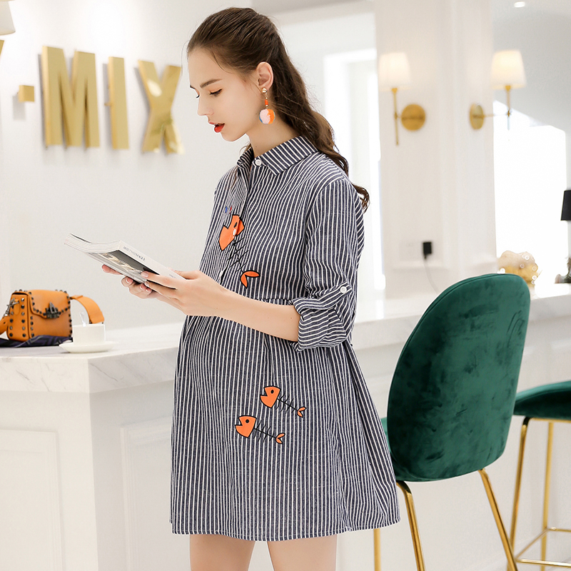 Lovely Embroidery Stripe Cotton Maternity Dress 2018 Winter Fashion T Shirt Clothes For Pregnant Women Pregnancy Maternity Gown